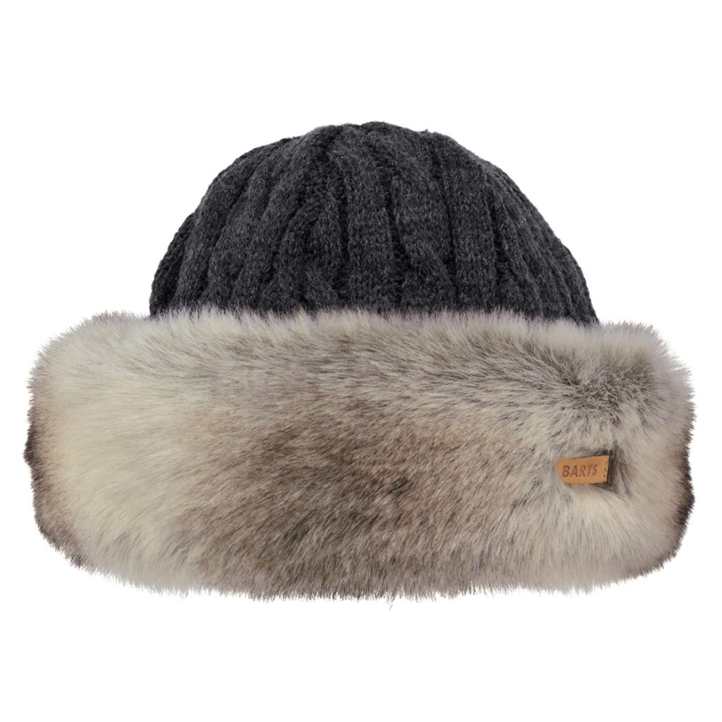 Barts Fur (Faux) Cable Bandhat Womens - Heather Brown
