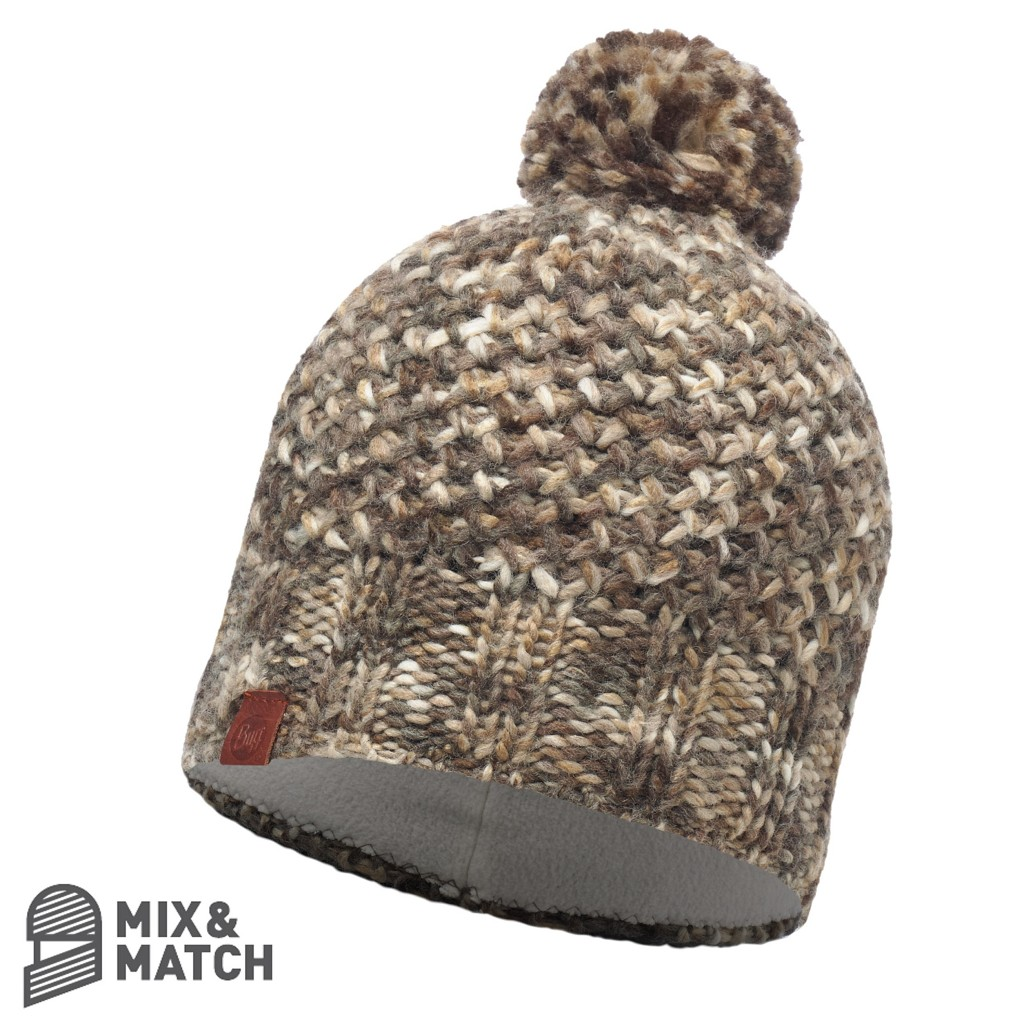 Buff Margo Knitted Hat - Brown Taupe / Grey