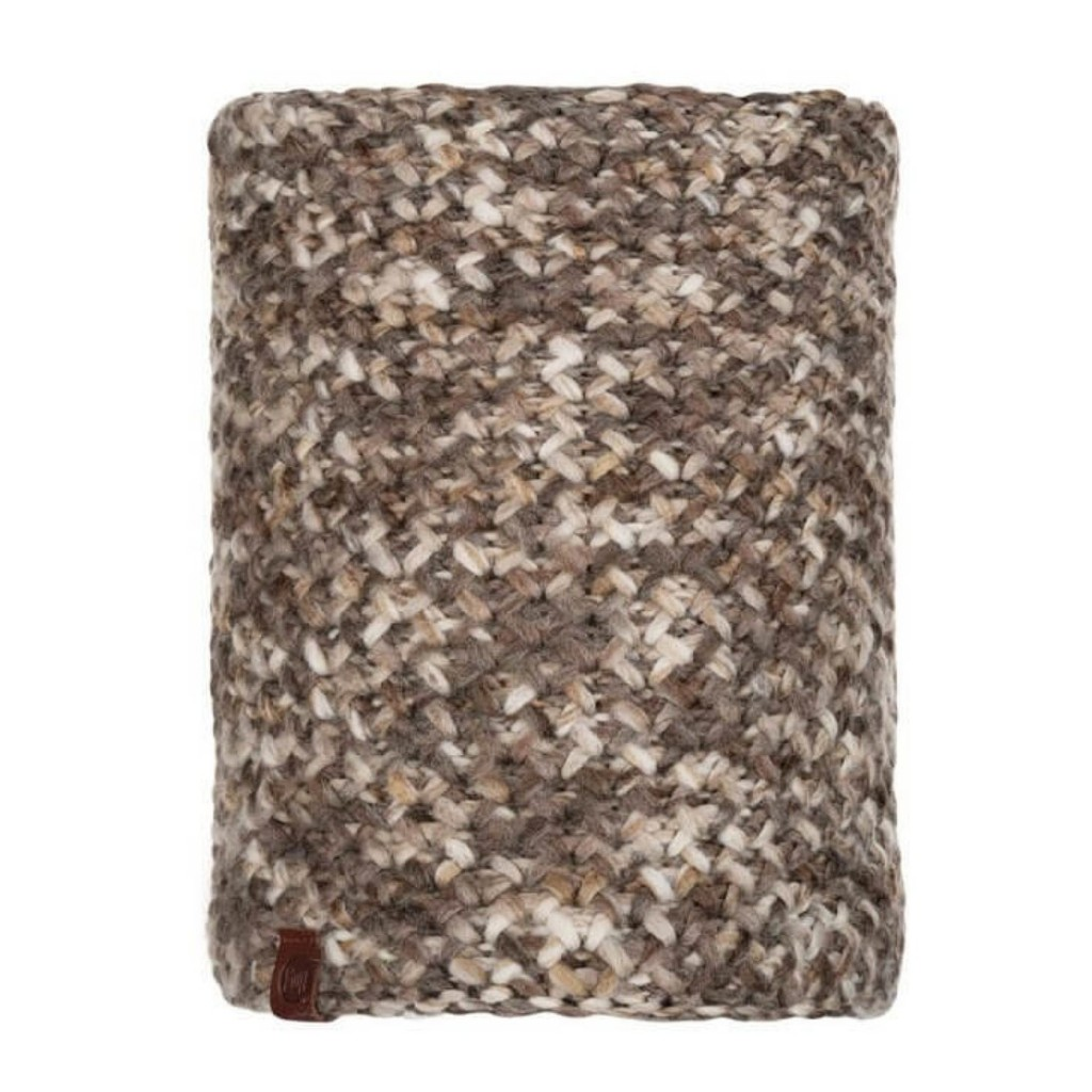 Buff Margo Knitted Neckwarmer - Brown Taupe / Grey