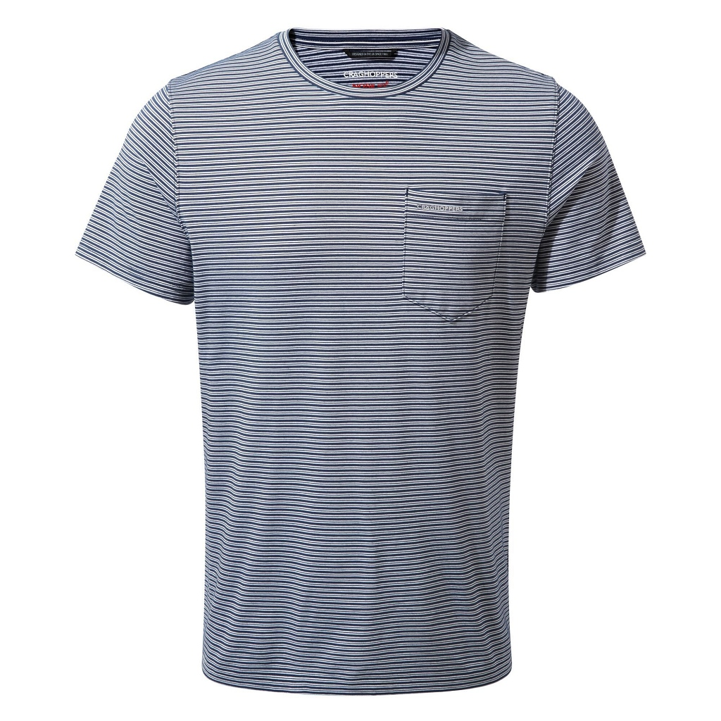 Craghoppers NosiLife Ina SS T-Shirt Mens - Blue Navy Stripe