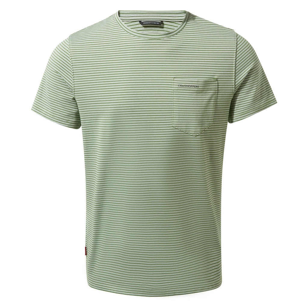 Craghoppers NosiLife Ina SS T-Shirt Mens - Agave Green Stripe