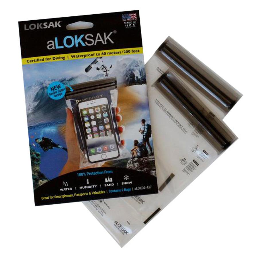 "Loksak Waterproof Bags 2 Pack -       aLoksak 2x 4"" x 7"""