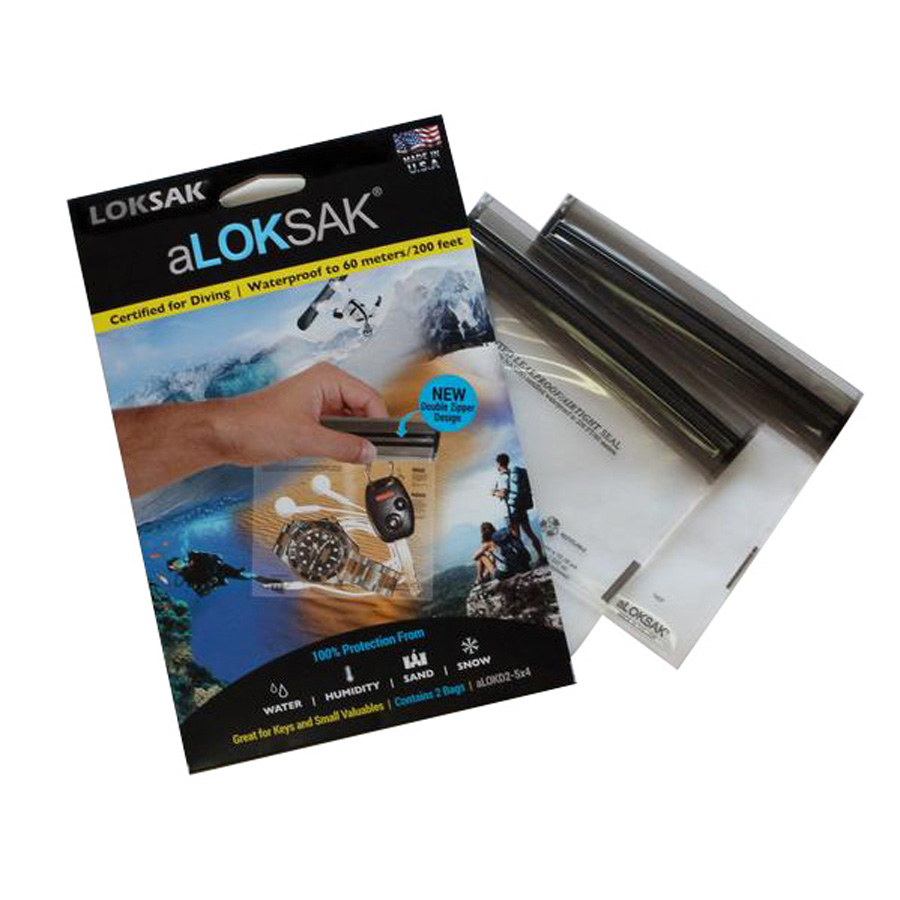 "Loksak Waterproof Bags 2 Pack - aLoksak 2x  5"" x 4"""