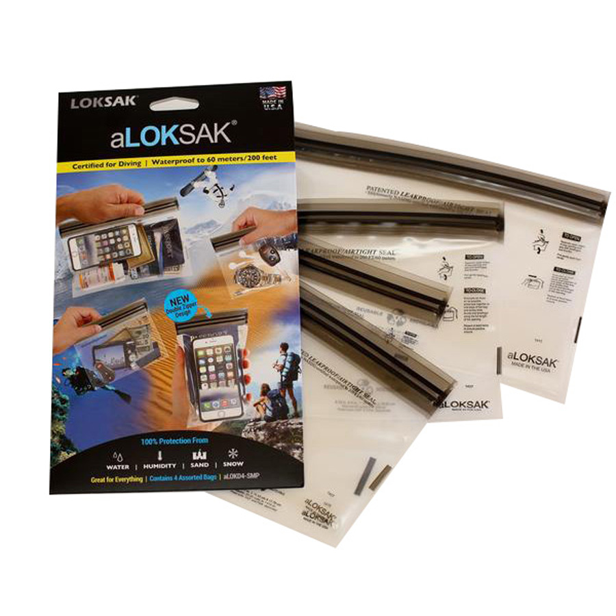 "Loksak Waterproof Bags 4 Pack - 1 Each   aLoksak 5 x 4"", 4 x 7"", 6 x 6"", 9 x 6"""