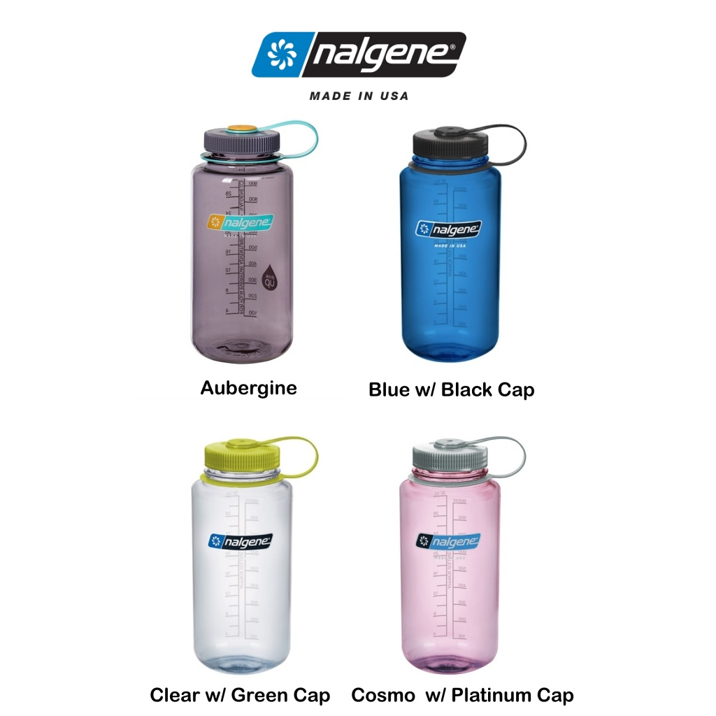 Nalgene 1L Tritan Wide Mouth Bottle with Loop Cap - Various Colours