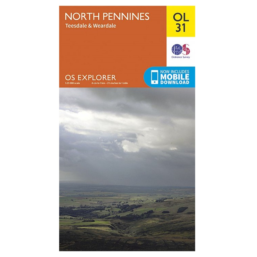 OS Explorer OL31 North Pennines - Teesdale & Weardale