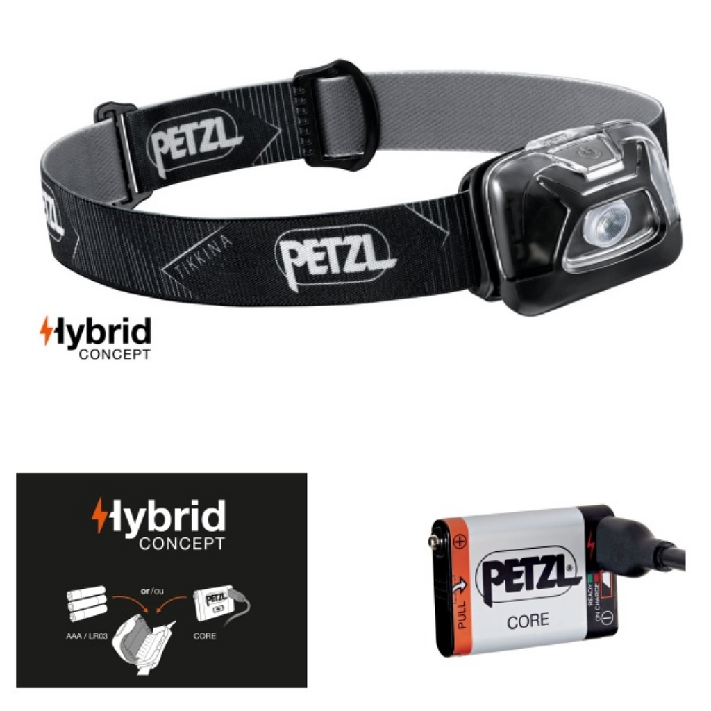 Petzl Tikkina 250 Lumens Headlamp Black & Core Battery