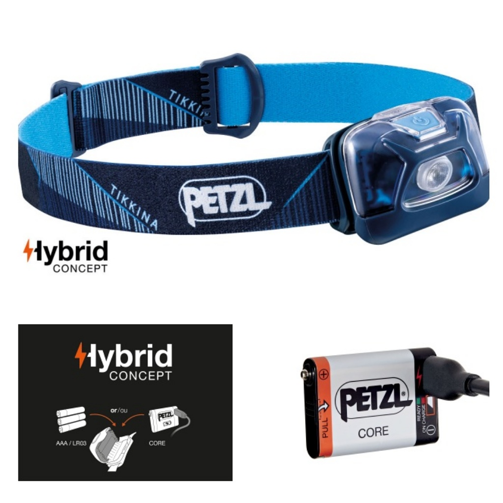 Petzl Tikkina 250 Lumens Headlamp Blue & Core Battery