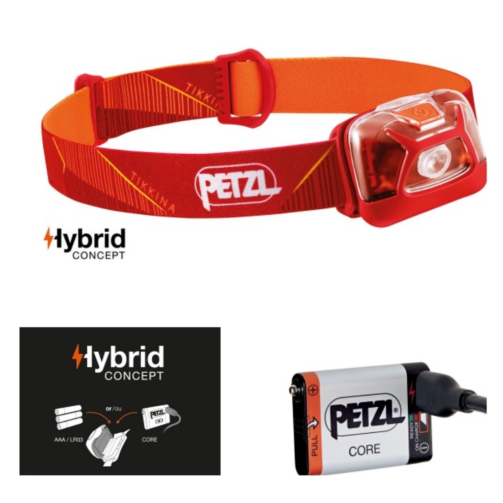 Petzl Tikkina 250 Lumens Headlamp Red & Core Battery