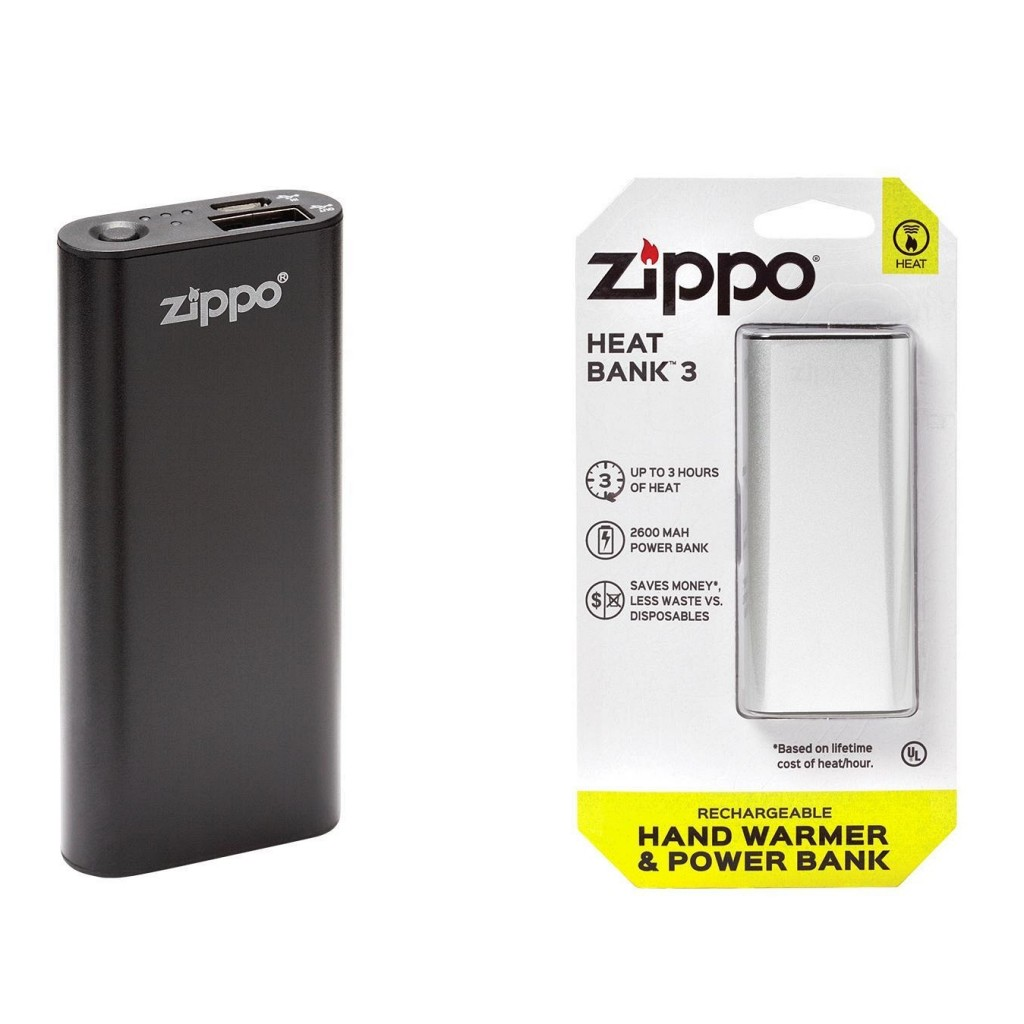 Zippo Heatbank 3-Hour Rechargeable Hand Warmer & Power Bank - Black or Silver