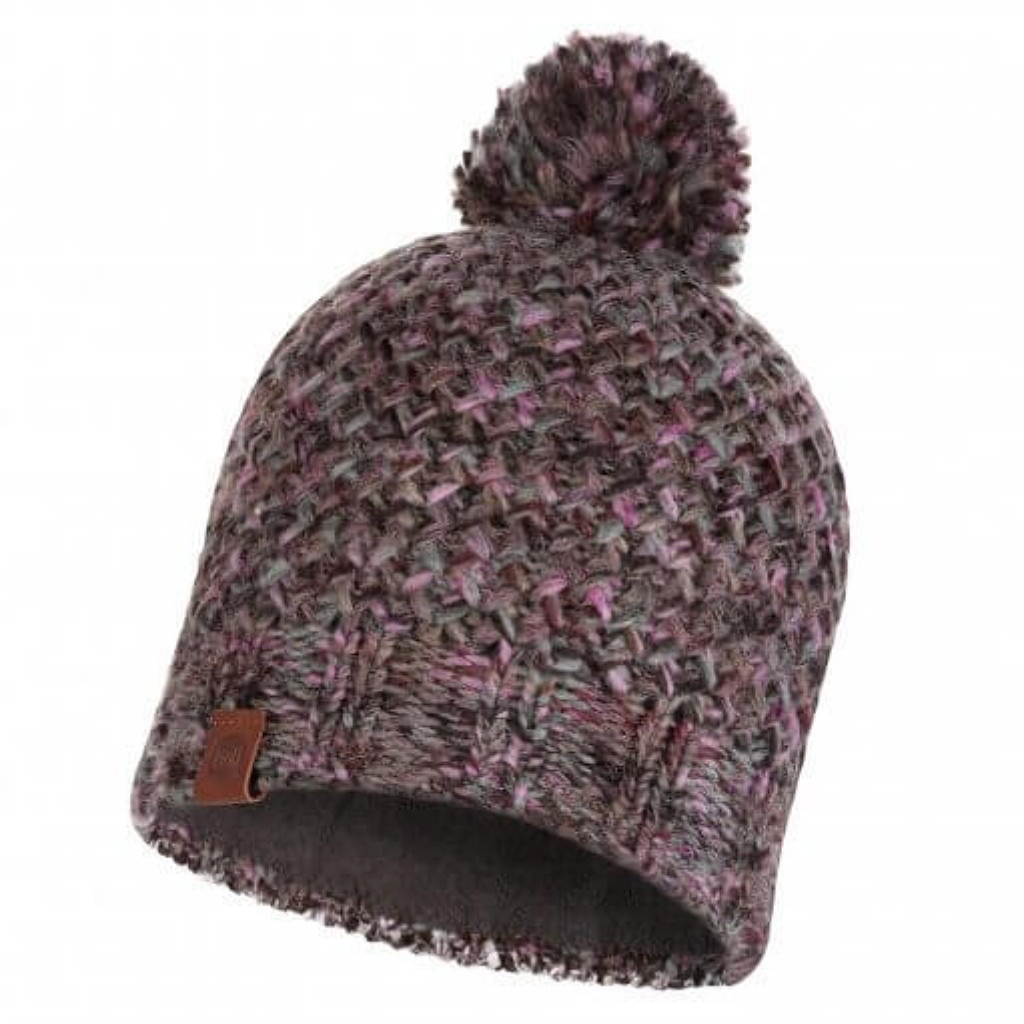 Buff Margo Knitted Hat - Plum / Grey Vigore